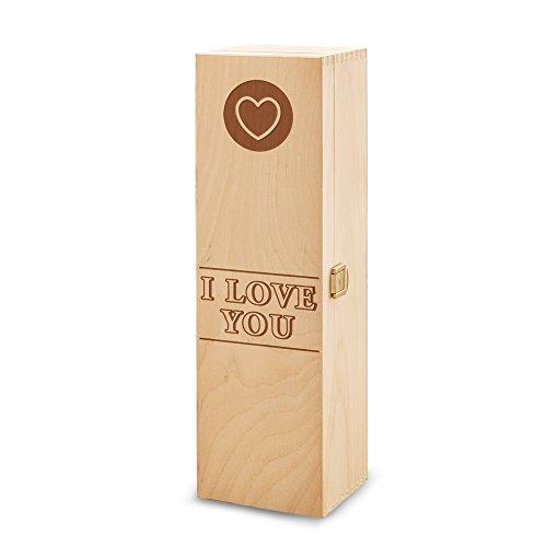Boîte cadeau à vin en bois - Avec gravure I love you