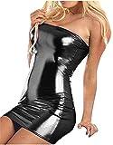 Bohai Women Off Shoulder Sleeveless Fitted Leather Dress Clubwear Stripper Bodycon Dress