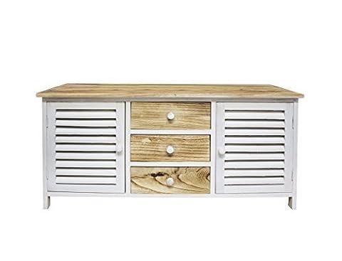 Mobili Rebecca® Sitzbank Flur Schrank Country Holz Weiß 2 Türen 2 Schubladen Braun Weiß (Cod.