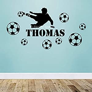 Fußballspieler Jungen Personalisierten Namen Wandkunst Wandaufkleber Aufkleber
