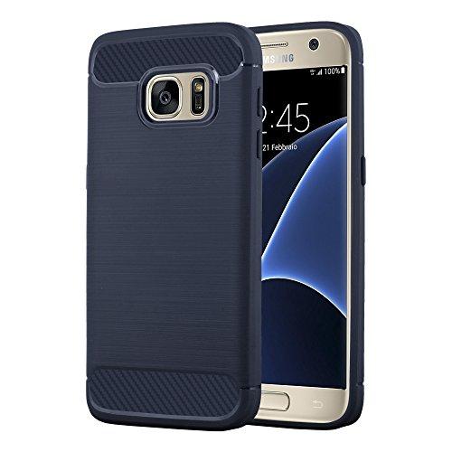 Preisvergleich Produktbild Cadorabo DE-104022 Samsung Galaxy S7 Handyhülle aus TPU Silikon in Edelstahl-Karbonfaser Optik Blau