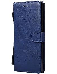 Lomogo Sony [Xperia XA Ultra] Hülle Leder, Schutzhülle Brieftasche mit Kartenfach Klappbar Magnetverschluss Stoßfest Kratzfest Handyhülle Case für Sony Xperia XA Ultra (6,0 Zoll) - LOKTU23346 Blau