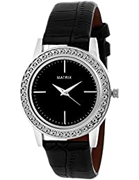 Matrix Analog Black Studded Dial, Black Leather Strap Watch For Girls & Women's- (WN-22)