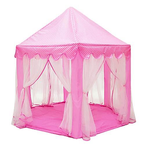 XIAO&Z Kinder Spielzelt Kinderschloss Burg Prinzessin Spielhaus für Drinnen Draußen, Geschenke für Mädchen Baby Tragbar, Mit fünfzackigem Sternenlicht, pink