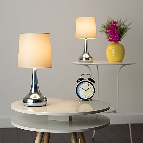 Pair of - Modern Chrome Teardrop Touch Table Lamps with Cream Fabric Shades