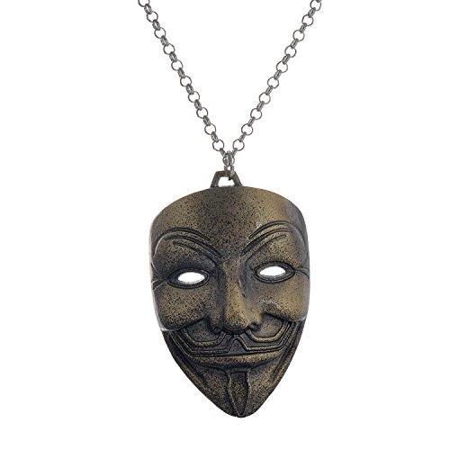 lureme® Jahrgang Stil Bronze Legierung Simle Clown Maske Pendant Movie Halskette (Maske Für Verkauf Clown)