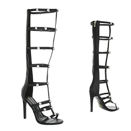 Ital-Design High Heel Sandaletten Damenschuhe Plateau Pfennig-/Stilettoabsatz High Heels Reißverschluss Sandalen/Sandaletten - 3