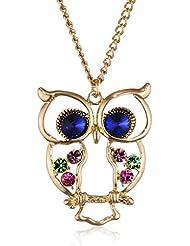 Le Premium colorido búho ala colgantes cadena larga collar ojos azules del océano chapado en oro