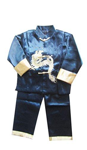 Baby Jungen Outfits Chinesische Oriental Kung Fu Anzug Set Kids Martial Arts Outfits mit Stickerei Drache on-navy, Blau - Navy, 4-5 Jahre