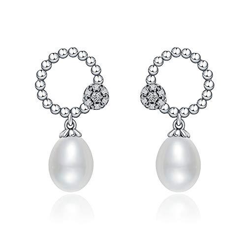 Orecchini pendenti in argento sterling 925 con perle d'acqua dolce ovali e zircone trasparente, eleganti orecchini a goccia, da donna, gioielli in argento