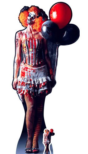 IST EINE sehr unheimlich weiblich Clown Karton inkl. Halloween Desktop Ausschnitt, Holz, Mehrfarbig, 178x 77x 178cm ()