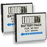 2x LOOKit® - Batterie NP-BN1 / 650 mAh pour Sony QX30 / Sony DSC-WX220 / Sony Cyber-shot DSC-WX220 /Sony DSC- W830 / Sony DSC- W810 / Sony DSC QX10 / Sony DSC QX100 / DSC-WX200 / DSC-W730 / DSC-W710 / DSC-TF1 / DSC-WX80 / DSC-WX60 / DSC W610 / W620 / W630 / W650 / W670 / W320 / W350 / W290 / W180 / W510 / W530 / W550 / W560 / W570 / W580 / HX20V / WX100 / DSC-TX20 / DSC-WX150