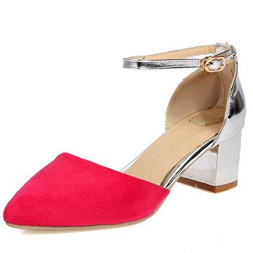 AllhqFashion Damen Pu Leder Mittler Absatz Spitz Zehe Gemischte Farbe Schnalle Pumps Schuhe Rosa