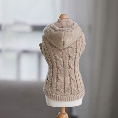 (ABLJ clothes for pets Pet Kleidung Hündchen Kleidung Herbst und Winter Tragen Kleine Hund Katze Haustier Pullover - Beige - mit Mütze - XS)