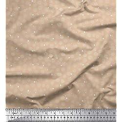 Soimoi Rosado rayo de crepé Tela asterisco y lunares puntos tela estampada de costura de tela 46 Pulgadas de ancho