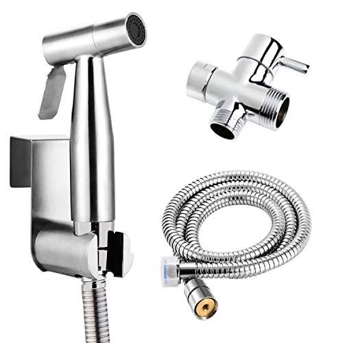 """BbfStyle - SUS 304 - Set de ducha wc con válvula de 3 vías (3/8""""-12/17 mm) - Set de ducha de bides para higiene intima - Finición Nickel Brossé - Taharat Taharet"""