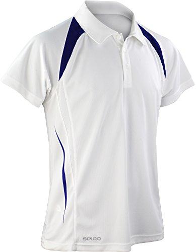 Spiro Herren Poloshirt Weiß/Marineblau