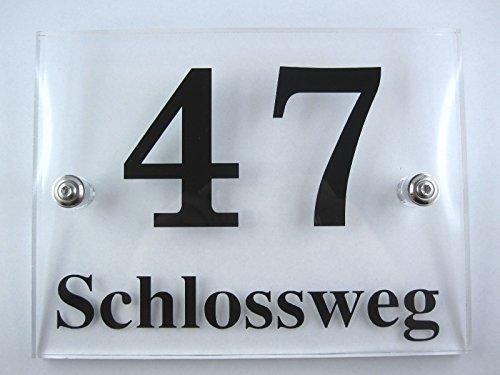 Design Hausnummer aus Acrylglas, Schild Plexiglas, hochwertige Laserbearbeitung (25 x 20 cm)