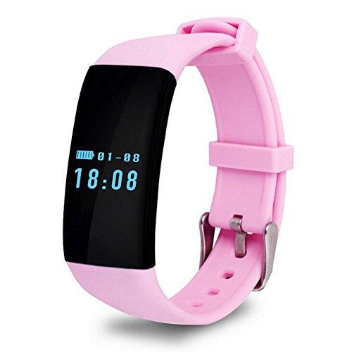 Gesundheit Fitness Tracker Smart Armband Pulsmesser Bluetooth Sport Schrittzähler Wasserdichte Touchscreen Für Android und Ios HOJZ,Pink