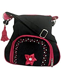 Fly Angels Women's Black Sling Bag With Embroidery (black)