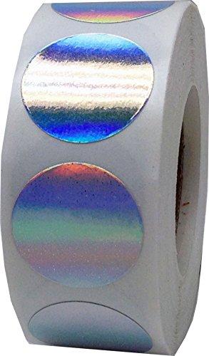 Plata Holograma Circulo Punto Pegatinas, 19 mm 3/4 Pulgada Redondo, 500 Etiquetas en un Rollo