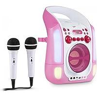 auna Kara Illumina • Kinder Karaoke Anlage • Karaoke Player • Karaoke Set • 2 x dynamisches Mikrofon • CD+G-Player • Top-Loading • USB-Anschluss • MP3-fähig • LED-Lichtshow • pink-weiß