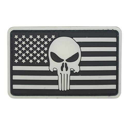 Militar Airsoft Morale PVC Patch Parche Punisher Skull Badge Bandera de US