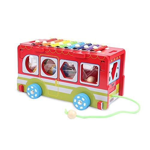 Zhongsufei Schlagzeug-Set Multifunktionale Holz Pull Bus 8 Hinweise Xylophon 10 Form Blöcke Frühe Pädagogische Spielzeug Kinder Kinder 3-6 Jahre Übungs-Pad-Midi-Drum-Kits