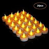Zorara Bougies à LED,【24pcs】Bougies LED pile Bouton CR2032, Sans Flamme Led Bougie pour Table Soirée Aniversaire Mariage