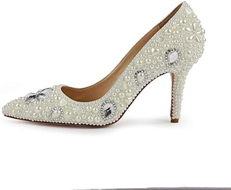 2b5fcd50a73b Women s Pointed Pearl Pearl Pearl high Heels Bridal Leather Stiletto  Diamond Wedding Shoes Handmade Custom high Heels B07G6RY5Q7 Parent aa20a9