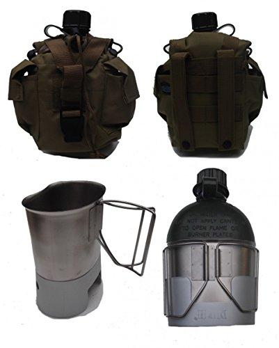 Feldflasche mit Molle Flaschentasche Coyote, Kocher und passendem Feldflaschenbecher