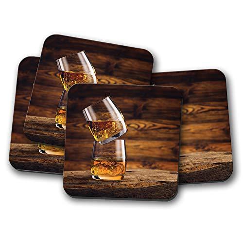 #16204 Whisky On The Rocks Untersetzer, Eiche, gereiftes Holz Bar Alkohol Geschenk -