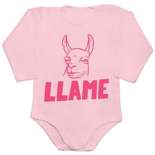 Llame Pink Llama Baby Romper Long Sleeve Bodysuit Babyspielanzug Small (Sleeve Lame Long)