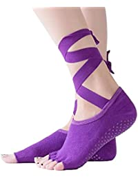 Liuxc Calcetines de yoga Calcetines Deportivos Antideslizantes, Calcetines de Yoga con cinturón elástico, Calcetines