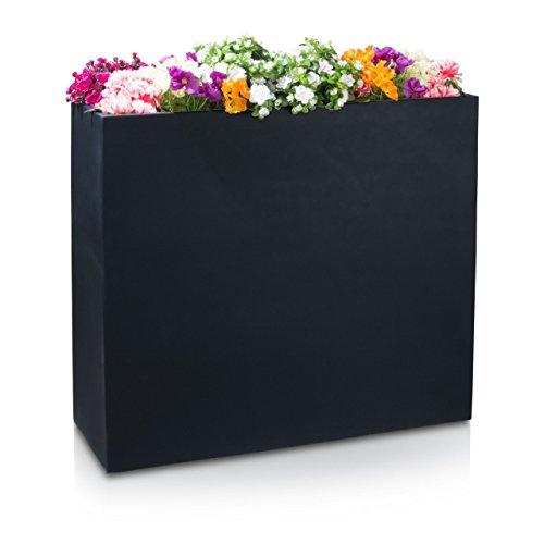 Raumteiler Pflanztrog DIVISOR 100 Fiberglas Blumentrog - wetterfest, frostsicher und UV-beständig, 116x40x100cm, Farbe: schwarz matt -
