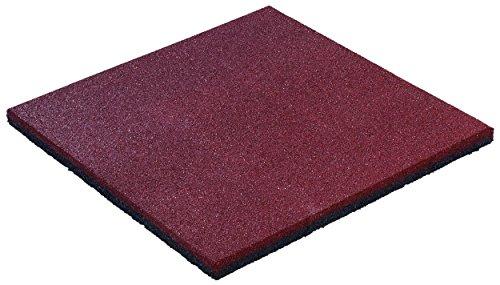 Preisvergleich Produktbild Fallschutzmatte 50x50 Stärke 25mm rot - PREMIUM Anti-Rutsch Fallschutz-Platten nach EN 1177 für Schaukelgestell, Kinder Spielturm & Spielgeräte im Außenbereich