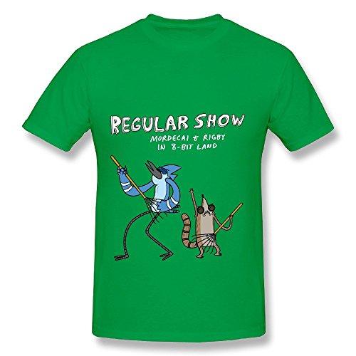 Regular Show Animated Cartoon Logo Print O-Neck T Shirts (Small) (Cartoon-logo-shirt)