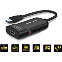 WAVLINK HDMI Adaptador USB 3.0 Externo Tarjeta de Video Monitor Pantalla Soporta Resolución 2048 x 1152 con Puerto de Audio para Windows 10/8/7/XP - Color Negro
