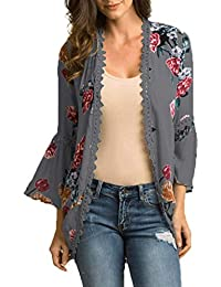bf33398f1f Rovinci_Womens Chiffon Shawl Print Lace Kimono Cardigan Blouse Flare Sleeve  Loose Beachwear Shirts Swimwear Bikini Cover-up Beach Dress…