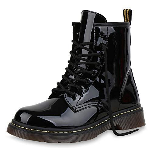 SCARPE VITA Damen Stiefeletten Worker Boots Profilsohle Stiefel Outdoor Schuhe 173514 Schwarz Lack ()