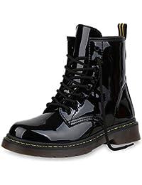 68b03dea85cb89 SCARPE VITA Damen Stiefeletten Worker Boots mit Blockabsatz Prints  Profilsohle