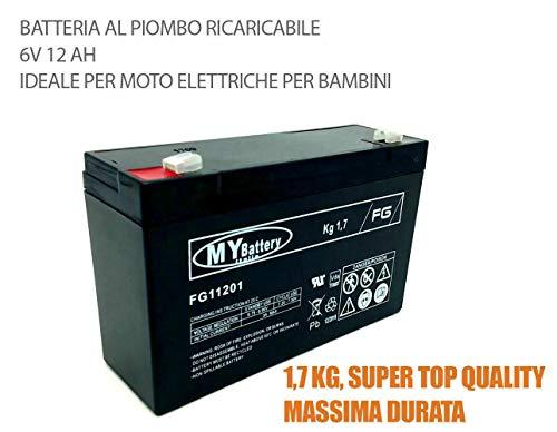 Givimusic Batteria al Piombo 6V Volts 12AH Ricaricabile Auto ELETTRICHE Lunga Durata