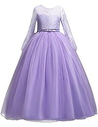 IWEMEK Vestido de niña de flores para la boda Princesa Largo Manga Vestidos de Dama De Honor Fiesta Tul Comunión Cumpleaños Bola Pageant…