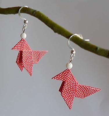 Boucles d'oreilles Origami Cocottes Papier Japonais. Bijou Origami.
