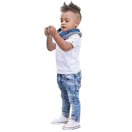 Elecenty 3pcs Stück Bekleidungssets Mädchen Jungen,Unisex Outfit Set Babyanzug Set Kurzarm Blusen +Jeans Denim Hose +Schal Solide Sommer-Outfit Tägliche Kleidung (3T, Weiß)