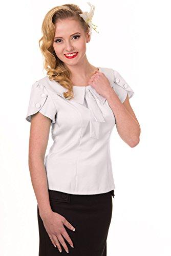 Banned Apparel-da donna Rockabilly Top stile Retro colore bianco Off-White Medium