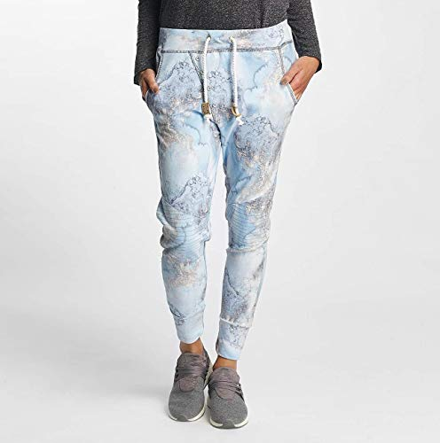 4c31f93b0e49 Eight2Nine Damen Sweathose mit Alloverprint Blau   Bequeme Jogginghose mit  Print Light-Blue L