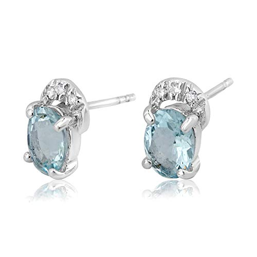 ❤ ️ Mille Amori Damen-Ohrringe 9 Karat (375) Weißgold Diamant 0,07 Karat – Aquamarin 2,30 Karat