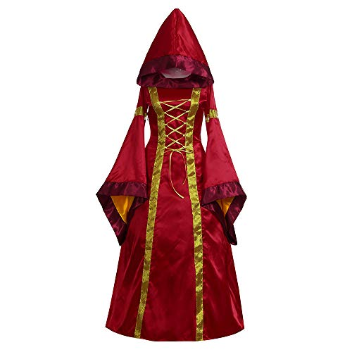 Oyedens Karneval Kostüm Damen 2019 Damen Langarm Mit Kapuze Mittelalter Kleid Bodenlangen Cosplay Dress Age Mittelalter Kleidung Große Größen Renaissance Kostüm - Dragon Queen Kostüm