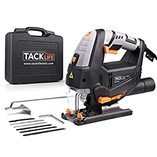 Jigsaw, TACKLIFE 800W Jigsaw Tools with Laser & LED, 6 Blades, Cutting in Wood 100mm Mental 10mm, Variable Speed (1-6), 22mm Stroke Height, Cutting Angle -45°to 45°, 3Meter Core Length | PJS02A